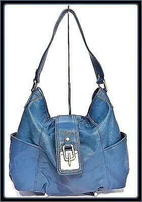 MICHAEL KORS MK Slate Blue Leather Hobo Shoulder Bag Handbag