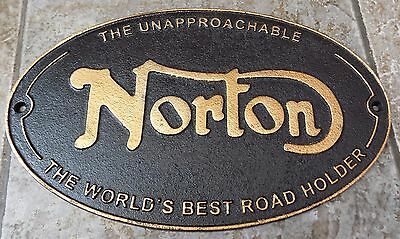 Super Heavy Cast Iron Sign The Unapproachable Norton The Worlds Best Road Holder