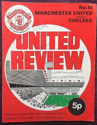 Denis Law Signed Football Programme 1972 Manchester United V Chelsea With Token