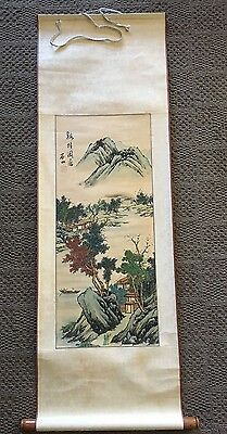Old atq. large Chinese Scroll Painting w/LANDSCAPE & HOUSES  16x48 Colorful