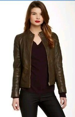 Ted baker size 10-12  green Elsha quilted leather jacket NEW