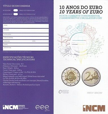 FOLDER ZU 2 EURO 2012 PORTUGAL : 10 Anos do Euro - no coin!
