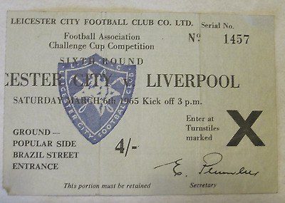 RARE Leicester City v Liverpool, FA Cup 1964-1965 ticket