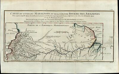 Amazon River New Grenada French Guiana Colombia 1756 Bellin old antique map