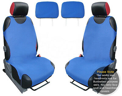 2x T-SHIRT CAR FRONT SEAT COVER PROTECTOR BLUE For Fiat Multipla