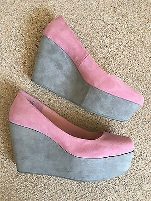 Ladies Divided By H&M Pink Wedge Shoes Size 6