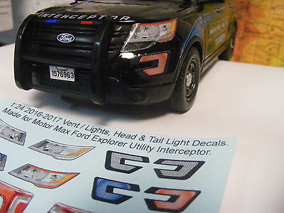 Make your 1:24 Police 2015 Ford Explorer look like a 2017 with these decals NEW