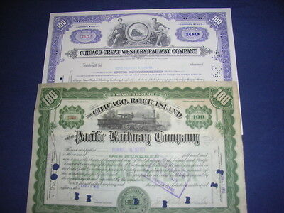6 different US Railroad company share certificates, quality selection