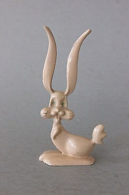 Vintage Cast Iron Rabbit Bunny Cartoon Character Figurine Long Ears Blue Eyes
