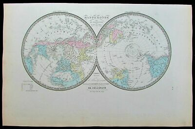World map hemispheres polar projection continents c.1875 old antique color map