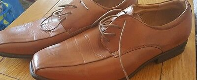mens brown leather lace up dress smart shoes