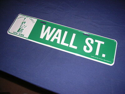 """Wall Street"" street sign with Statue of Liberty, metal"