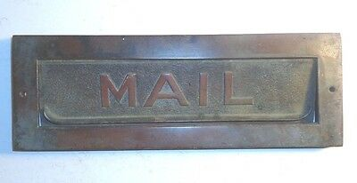 "ANTIQUE BRONZE ""MAIL"" DOOR SLOT. COMPLETE w/FRAME, VERY HEAVY, 10-1/2 X 3-3/4 IN"