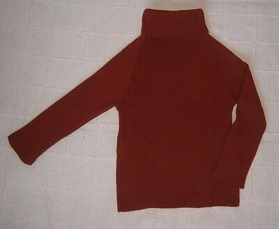 Vintage Polo-Neck Sweater - Age 5-6 years - 116 cm- Rust - Ribbed Acrylic - New