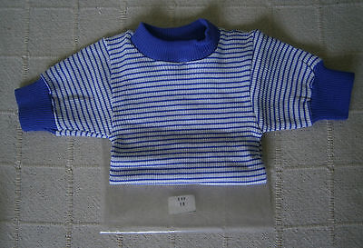 Vintage Girls Skinny Rib Top- Age 10 - Purple/White Stripe - Short-Sleeve  - New