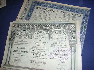 EGYPT: 4 different Egyptian Credit Foncier, decorative, 1880 to 1951