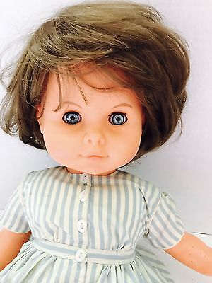 "21"" Vtg MAX ZAPF Baby Doll Ice Blue Eyes Brunette Germany #55-18"