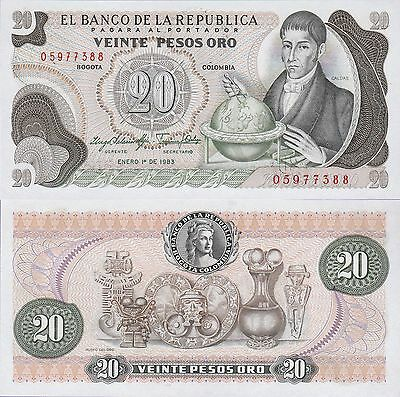 Colombia 20 Pesos Oro Banknotes,1983 Uncirculated Condition Cat#409-D-7388