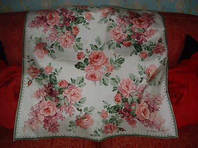 Vintage Silk Scarf By Jim Thompson Pink Cabbage Roses & Lilac  33 Ins X 32 Ins