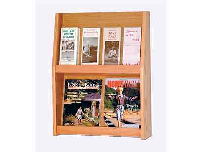 Wooden Mallet 8 Pocket Literature Display in Medium Oak Rack and Sorters