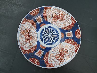 Antique 19th Imari Japanese Plate Meiji Period with Cobalt Blue Hand Painted  #4