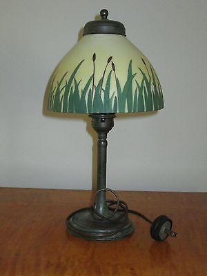 antique bronze lamp with painted glass shade -early 20th century