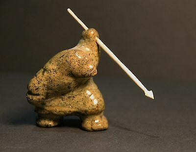 """VINTAGE INUIT STONE CARVING """"HUNTER with SPEAR"""" 2.5 inches tall plus spear"""