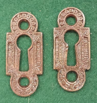 PAIR DECORATIVE VICTORIAN STYLE KEY HOLE COVERS  CAST IRON Unique shape