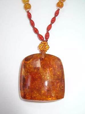 Vintage Chinese Amber Pendant Necklace W/ Beads & Large Chunky Centerpiece
