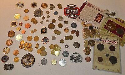 lot of medallions, game tokens, medals...