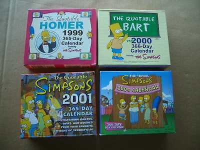 4 Vintage The Simpsons 365-Day Calendars-1999, 2000, 2001, 2004-Quotable Bart