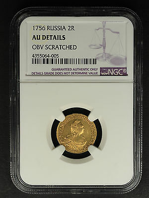 1756 Russia Gold 2 Roubles NGC AU Details Obverse Scratched -160425