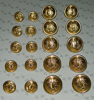 20 vintage metal lyre harp uniform buttons 5/8 and 7/8 inch Waterbury Co's Conn