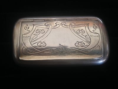 Antique 1910  Solid Sterling Silver Swedish Snuff Pill Box 50 G marked 3 crowns