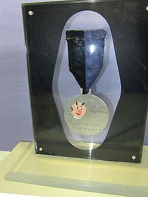 Reddy Kilowatt Vintage Dated 1967 Employee Engraved Hand Painted Medal Electric