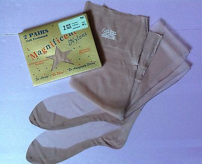 "Vintage Dark Seamed Nylon Stockings 2 Pairs FF 51/15 Size 10 1/2 And 33"" Long"