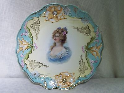 Victorian Lady Raised Floral Porcelain Plate Gold Trim Hand Painted LARGE 12""
