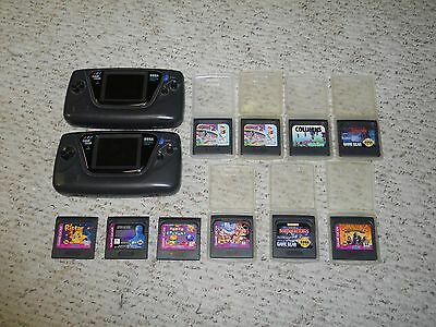 Sega Game Gear Lot 2 Consoles 10 games some with cases - PLEASE READ !!