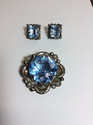 Unusual Vintage Mexico Silver Light Blue Square Brooch &  Post Earring Set
