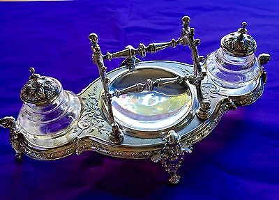 Antique Silver Plate European Double Inkwell Writing Stand With Lady Bust