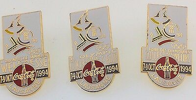 Lot of 3 Coca-Cola Olympic Collector's Fair 1994 Lausanne Pin English French