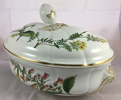 Spode Porcelain English China Stafford Flowers Oval Covered 2 Qt Casserole w/lid