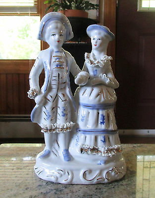 Vintage Blue & White With Gold Trim Porcelain Figurine of a Colonial Couple