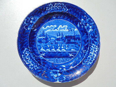 Antique Historical Staffordshire Dark Blue Landing of Lafayette Plate 7 3/4""