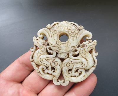 Old Chinese white jade hand-carved hollow dragon amulet Pendant H117