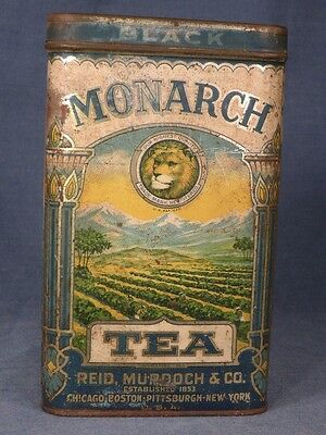 MONARCH BLACK TEA TIN - One Pound Size with HINGED LID - VINTAGE Copyright 1923