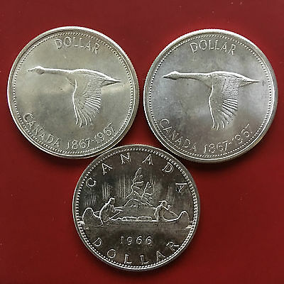 (3) Three Large Canada 0.800 Silver Dollars - 1966, 1967, 1967