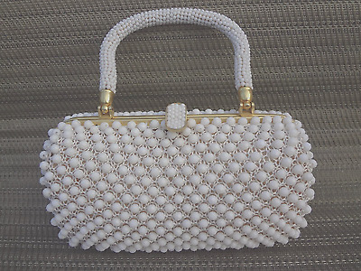 Vintage Marcus Brothers White Beaded Purse