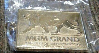 New Unopened. MGM GRAND (Las Vegas) Gold Tone Metal Keychain  FREE SHIPPING!