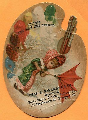 Freeport, IL, Victorian Trade Card Advertising Artist's Palet McNamara & Co.